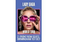 2 Tickets Lady Gaga Front Row 15th October Birmingham Seated