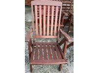 Wooden reclining patio chairs x 6