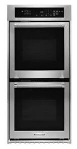 KITCHENAID NEW KODC304ESS 24DOUBLE 3.1CU FT.TRUE CONVECTION (UPPER)THERMAL(LOWER)LARGE WINDOW DOUBLE WALL OVEN(BD-1530)