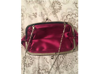 SILK PLUM CLUTCH WITH REMOVABLE CHAIN STRAP