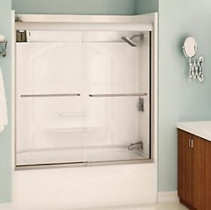 MAAX 57 in x 59 in Frameless Sliding Tub Door in Brushed Chrome
