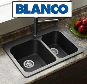 NEW* BLANCO TOPMOUNT KITCHEN SINK Silgranit, Natural Granite Composite Topmount Kitchen Sink, Anthracite 109686971