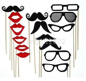 15PCS Photo Booth Props For Wedding Party Moustache&Lips&Glasses On A Stick