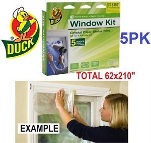 NEW DUCK WINDOW FILM KIT 5 PACK INDOOR - INSULATES FIVE 3x5' WINDOWS - INSULATION - HEAVY DUTY SHRINK FILM 75319021