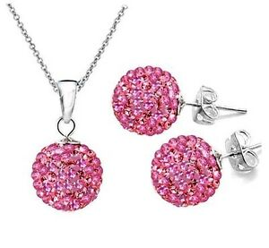 Genuine CZ Crystal Lady/Girls 925SILVER Sets Necklace + Earring Shamballa Sets