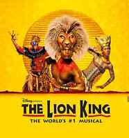 THE LION KING  ****  SATURDAY MATINEE 2 PM SHOW TOMORROW ****