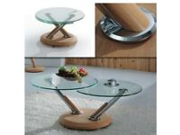 Glass Extending Coffee Table in Oak and chrome