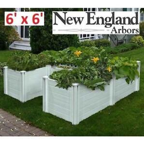NEW 6' x 6' COMPOSTING GARDEN BED BP68238 199090632 KEYHOLE WHITE OUTDOOR HOME