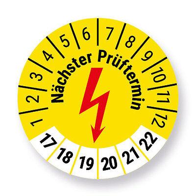 e-Check / Elektro Prüfplakette Aufkleber, Elektrocheck, 500 Stück, gelb, Ø 30mm,