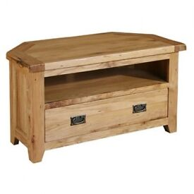 Old Creamery oak corner TV stand