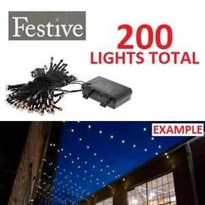 NEW FESTIVE CHRISTMAS LIGHTS P019135 213331914 WARM WHITE BATTERY OPERATED TIMER LED 200 BULBS PER PACK