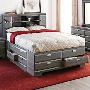Grey Laminate Particle Board Queen Bed Fram