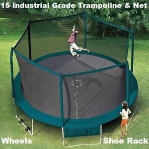 15 foot trampoline and enclosure on wheels