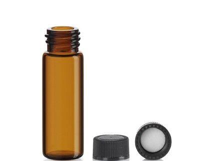 72 Pcs 1 Dram Amber Glass Vials Wscrew Caps 15x45 Mm