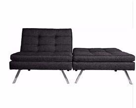 HOME Duo Fabric Clic Clac Sofa Bed - Black 144.