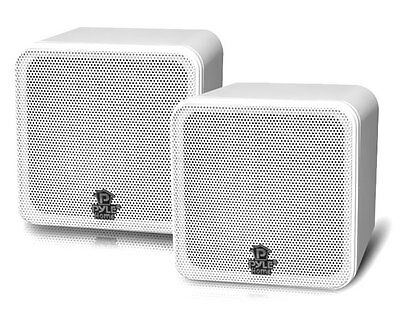 Pyle Home Audio PCB4WT 4 Inch 200W White Mini Cube Bookshelf Speaker System