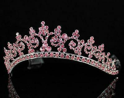 AB89207 PINK AUSTRIAN RHINESTONE CRYSTAL CROWN TIARA HAIR COMBS BRIDAL WEDDING