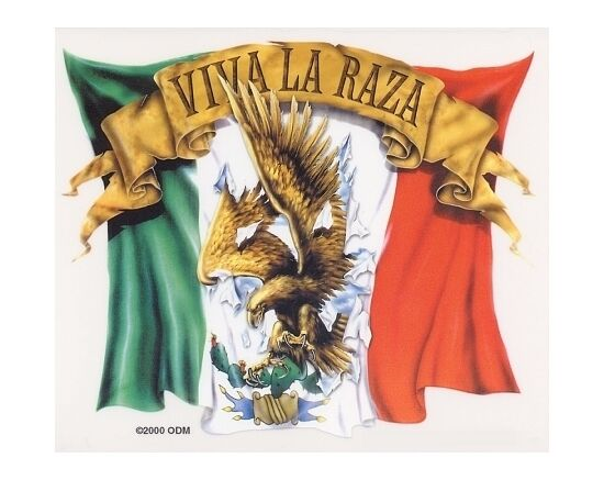 ULTRA RARE Viva La Raza MEXICAN FLAG Eagle & Cactus LATIN Sticker TOOLBOX Decal