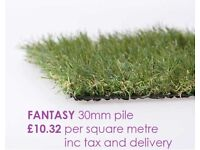 Artificial Grass 30mm pile only £10.32 square metre delivered, 40mm pile £14.40