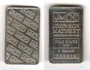 5-FIVE-GRAM-JOHNSON-MATTHEY-COLLECTORS-BAR-999-FINE-SILVER