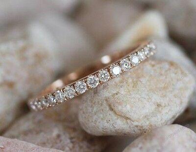 0.50 CTW Diamond 14K Rose Gold Finish Wedding Or Anniversary Eternity Band