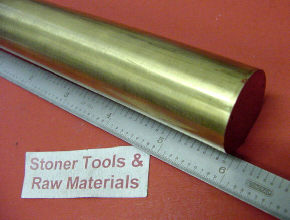 "1"" BRASS C360 ROUND ROD 6"" long H02 Solid Brass Bar New Lathe Bar Stock 1.00"""