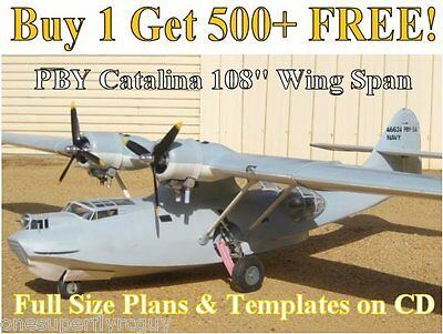 """PBY Catalina 108"""" WS Giant Scale RC Airplane Full Size Plans & Templates on CD"""
