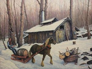 """ Canadian Maple Syrup Farm "" original oil painting on canvas"