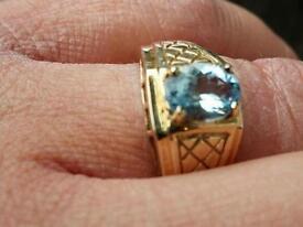 Mens/Unisex 9ct Gold Aquamarine Ring