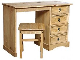 CORONA MEXICAN PINE DRESSING TABLE 4 DRAWER WITH STOOl