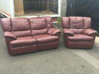 Very nice 2+1 seater sofa in brown leather fully reclining £275