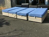 Single devan base with balmoral waterproof mattresses + leather headboard