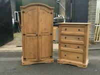 Mexican pine wardrobe + chest £120 delivered