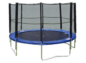 14 Foot Trampoline with Enclosure Jumping and Tumbling Blue Youth Size NEW