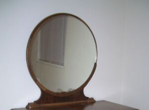 Round antique dresser mirror