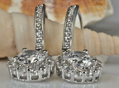 Dangling Drop Diamond Earrings - Real 1.99 Ct Round Eternity Drop Dangle Diamond Earring 14k Solid White Gold