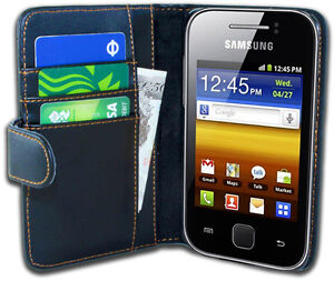 Black Leather Wallet Flip Case Cover Pouch for Samsung S5360 Galaxy Y Young