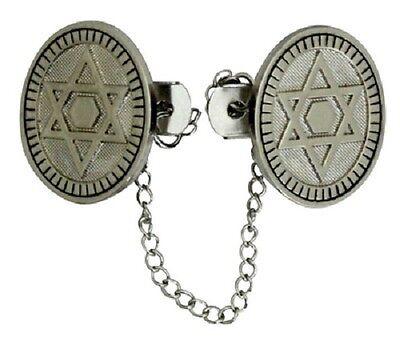 Star Tallit Clip (ISRAEL NICKEL PLATED OVAL TALIT TALLIS TALLIT CLIP CLIPS MAGEN STAR OF)