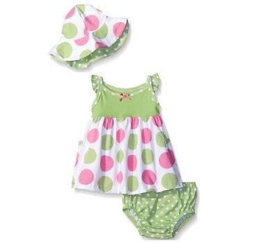 Gerber Girls' Baby 3 Piece Green Dots Set; Dress, Cap & Panties BABY SHOWER GIFT