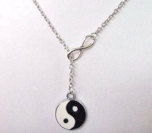 New Infinity Ying and Yang Yin Lariat Pendant Silver Tone