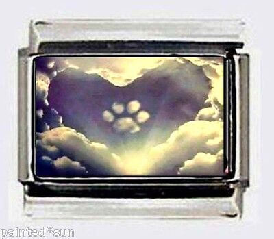 Heart Paw Print Clouds dog cat 9mm Italian Photo Charms for link bracelets](Dog Charms For Bracelets)