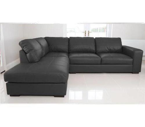 real leather corner sofa ebay. Black Bedroom Furniture Sets. Home Design Ideas