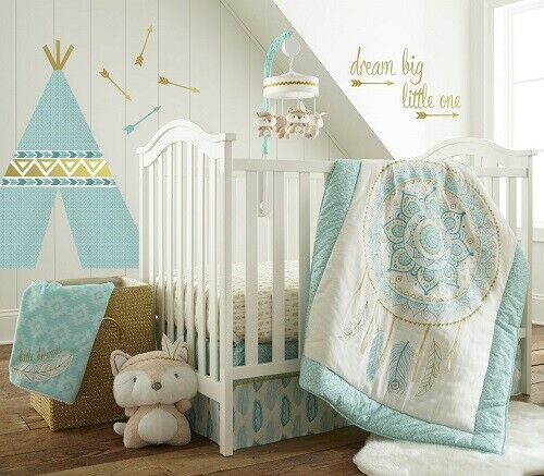 Levtex Baby Little Feather Aqua 6Pc Crib Bedding Set Includes Changing Pad Cover