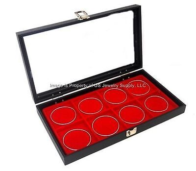 1 Glass Top Lid Red 8 Space Collectors Display Box Case Bangle Pins Medals