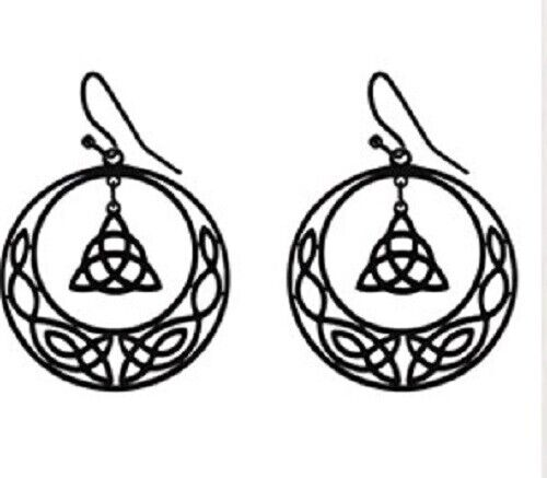 Black STAINLESS STEEL CELTIC Knot Triquetra Crescent moon  Earrings