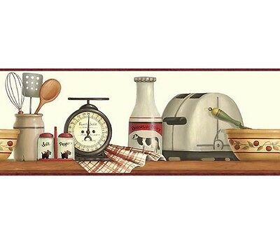 Toaster Shelf Wallpaper Border FP00411B vintage red farm kitchen decor
