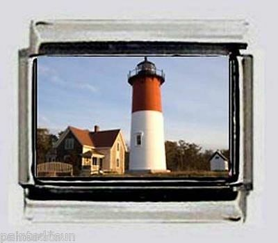 LIGHTHOUSE CAPE COD Nauset Beach 9mm photo Italian charms for link bracelets ()