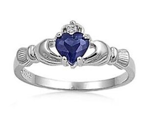 Sterling Silver Irish Heart Shaped CZ Claddagh Ring Sizes 6 7 8 9 10