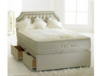 Divan Bed Set Bamboo 4 Drawers Memory Foam Pocket Sprung Mattress King Size