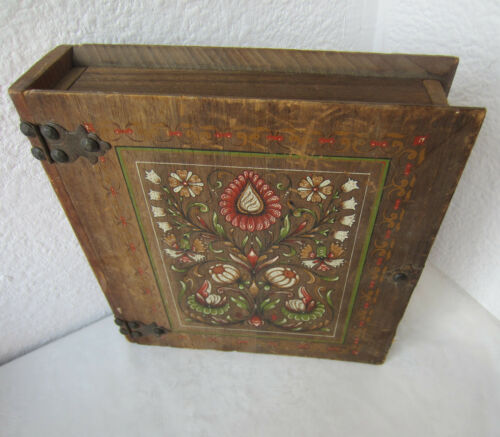 "Large  11""  Beautiful  ANTIQUE vintage hand PAINTED wooden BOX - BOOK SHAPED"